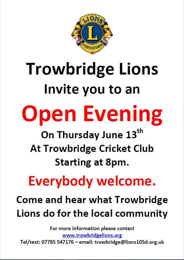 Trowbridge Lions Open Evening Thursday 13th June @ 8PM